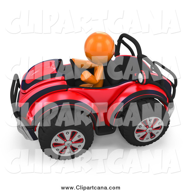 Clip Art of a 3d Orange Man Driving a Red Buggy Sports Car