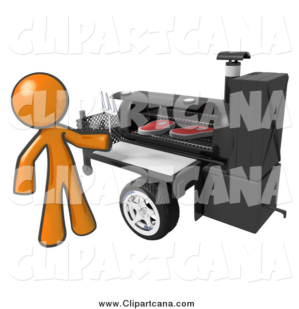 Clip Art of a 3d Orange Man Grilling Steaks on a Bbq Grill