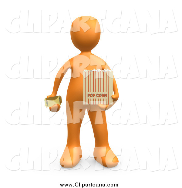 Clip Art of a 3d Orange Man Holding a Movie Ticket and a Bag of Popcorn