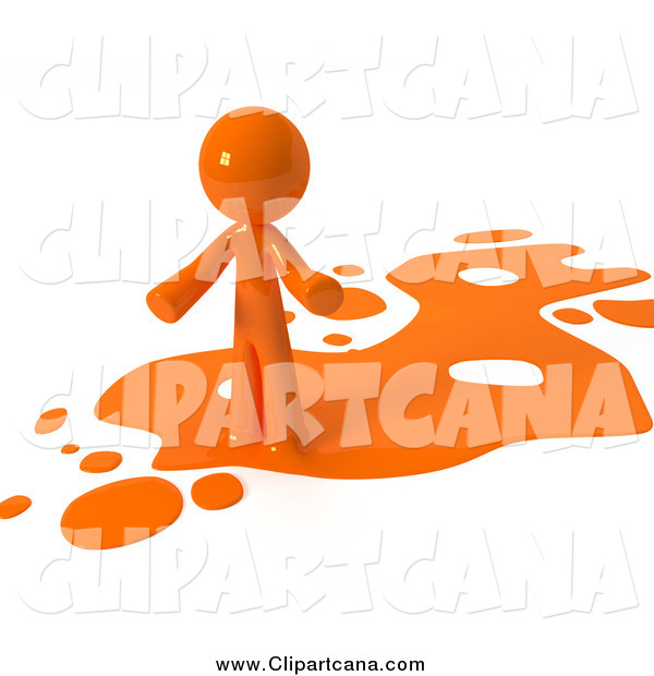 Clip Art of a 3d Orange Man in a Spill of Paint