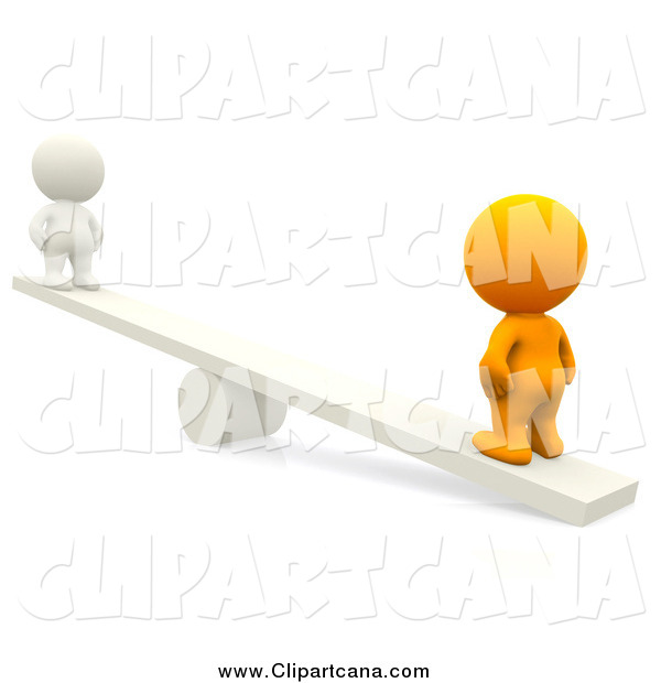 Clip Art of a 3d Orange Man on the Heavy Side of a Teeter Totter, with a White Man on the Other Side