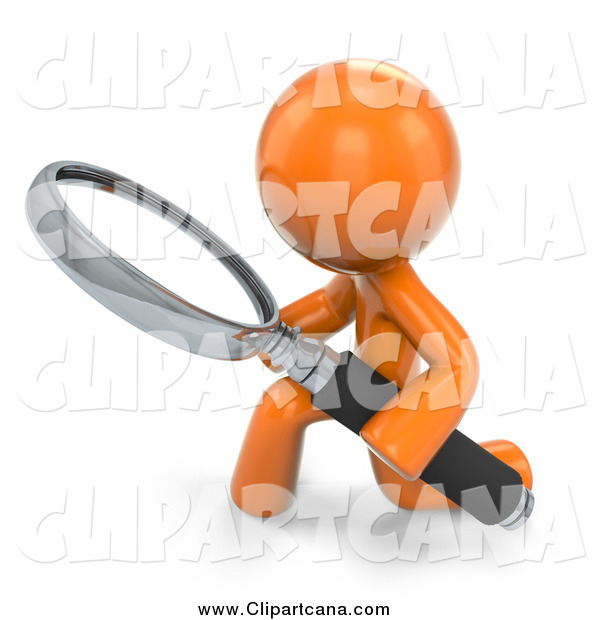 Clip Art of a 3d Orange Man Searching and Kneeling with a Magnifying Glass