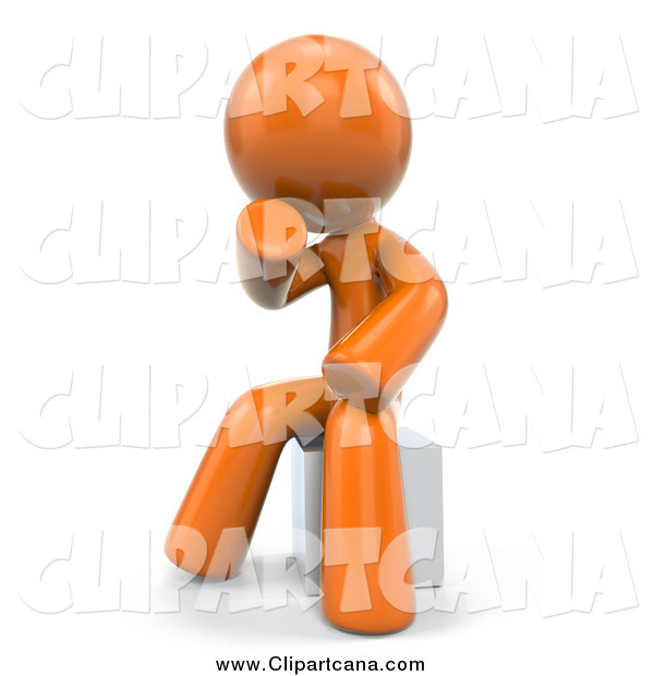 Clip Art of a 3d Orange Man Sitting in Thought