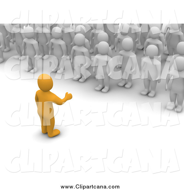 Clip Art of a 3d Orange Man Speaking to a Crowd of White Men