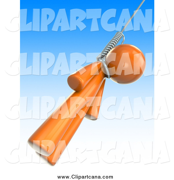 Clip Art of a 3d Orange Man Swinging from a Noose Against a Gradient Blue Sky