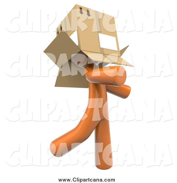 Clip Art of a 3d Orange Man Walking Around with a Box over His Head