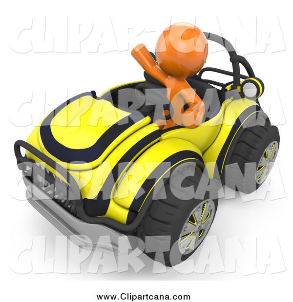 Clip Art of a 3d Orange Man Waving and Driving a Yellow Buggy Sports Car