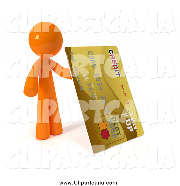 Clip Art of a 3d Orange Man with a Giant Gold Credit Card