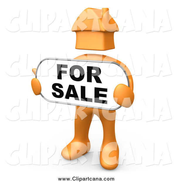 Clip Art of a 3d Orange Man with a House Head, Holding a for Sale Sign