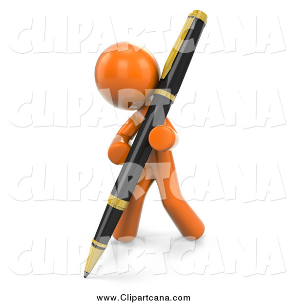 Clip Art of a 3d Orange Man Writing with a Large Pen