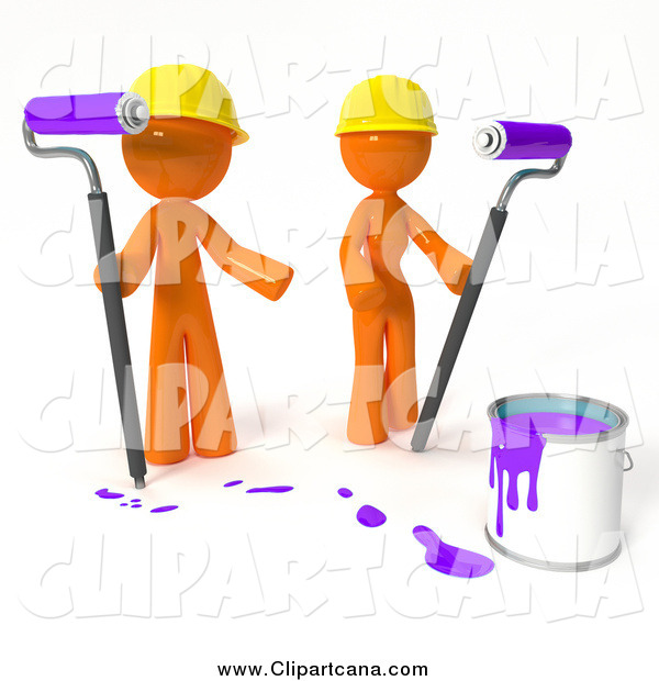 Clip Art of a 3d Orange Painters with Purple