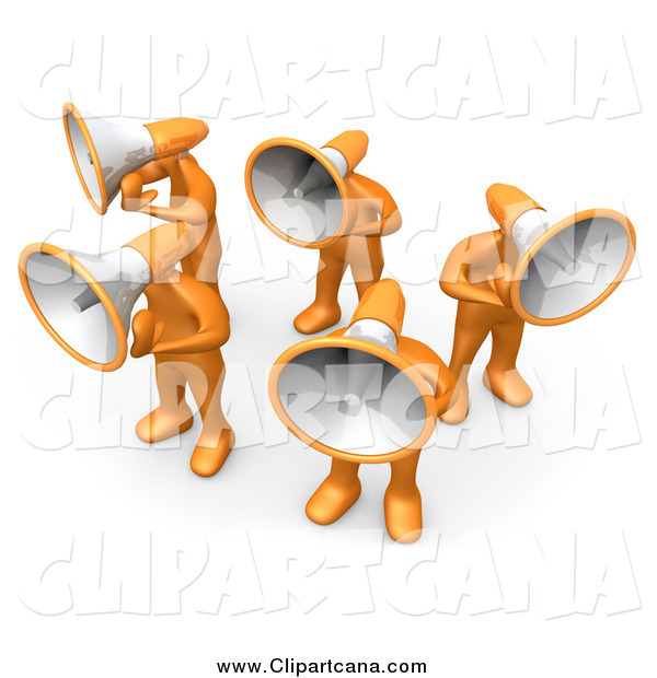 Clip Art of a 3d Orange People with Megaphone Heads