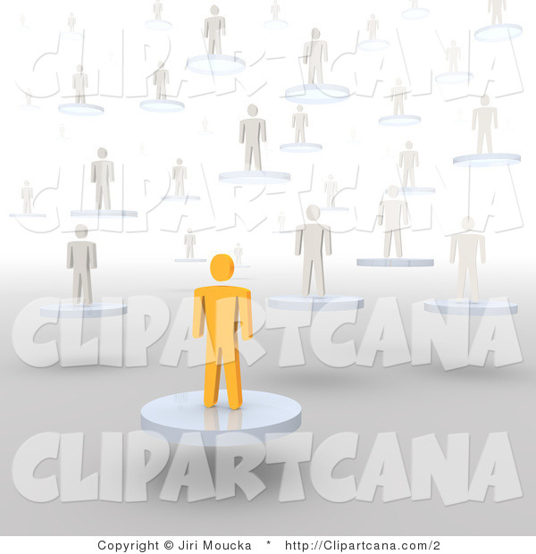 Clip Art of a 3d Orange Person and White People Floating on Platforms
