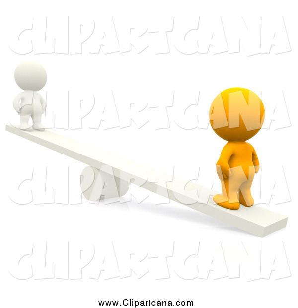 Clip Art of a 3d Orange Person on a See Saw with a White Person