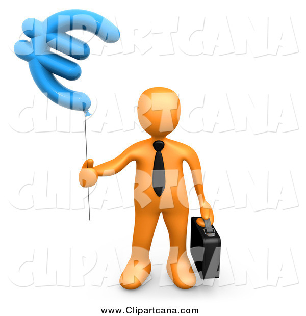 Clip Art of a 3d Orange Person with a Euro Currency Balloon