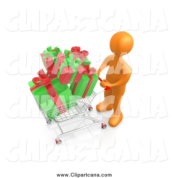 Clip Art of a 3d Orange Shopper Pushing a Cart Full of Christmas Gifts