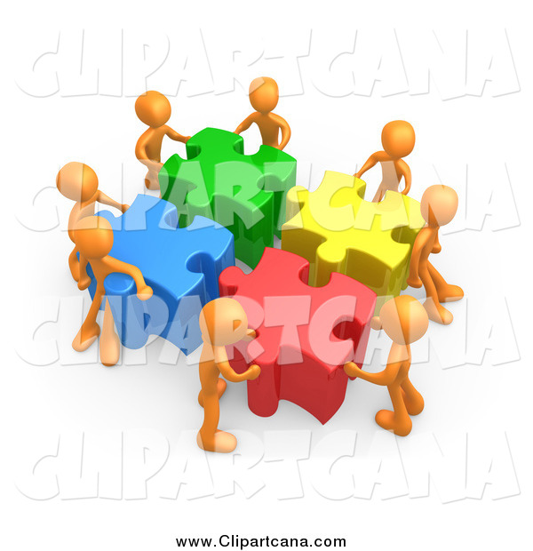 Clip Art of a 3d Orange Team Pushing Together Large Colorful Puzzle Pieces to Find a Solution