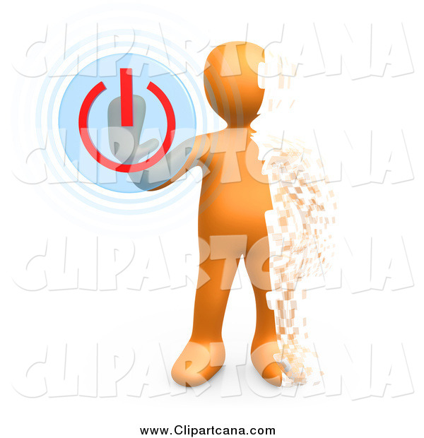 Clip Art of a 3d Pixelated Orange Man Turning the Power off