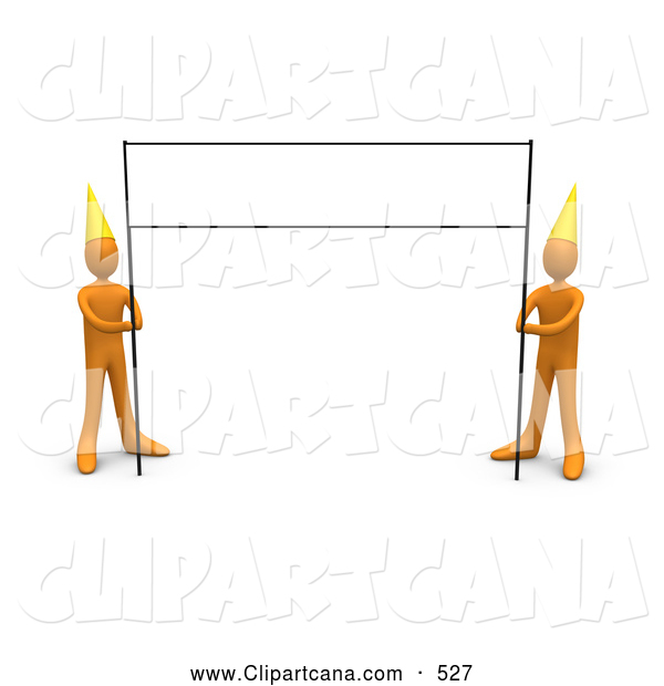 Clip Art of a Blank Banner Sign Post Being Held by a Pair of Orange People Wearing Party Hats