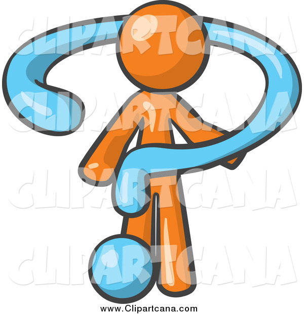 Clip Art of a Blue Question Mark Draping an Orange Man