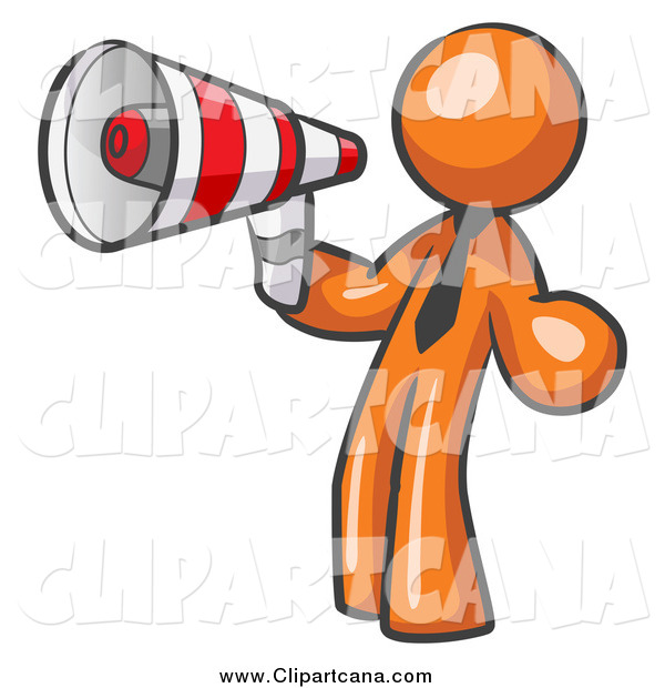 Clip Art of a Business Orange Man Announcing with a Megaphone