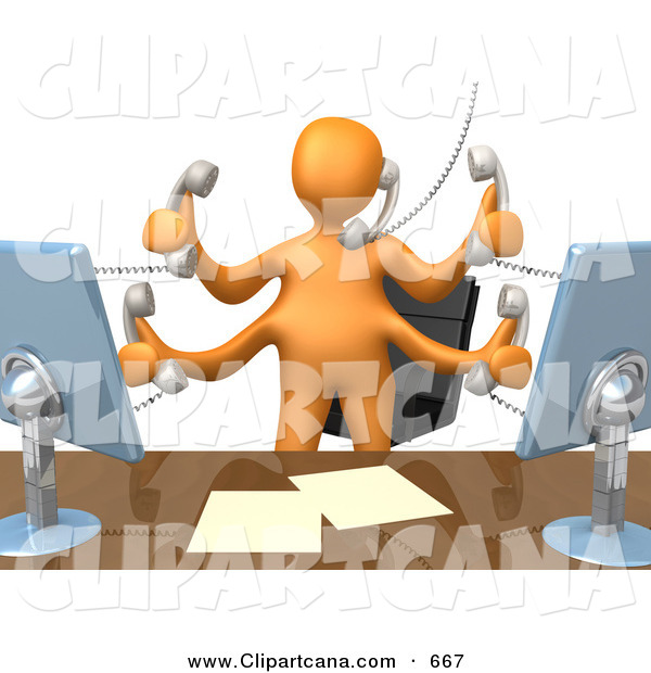 Clip Art of a Busy Orange Employee Standing in Front of Their Desk Chair and Multitasking