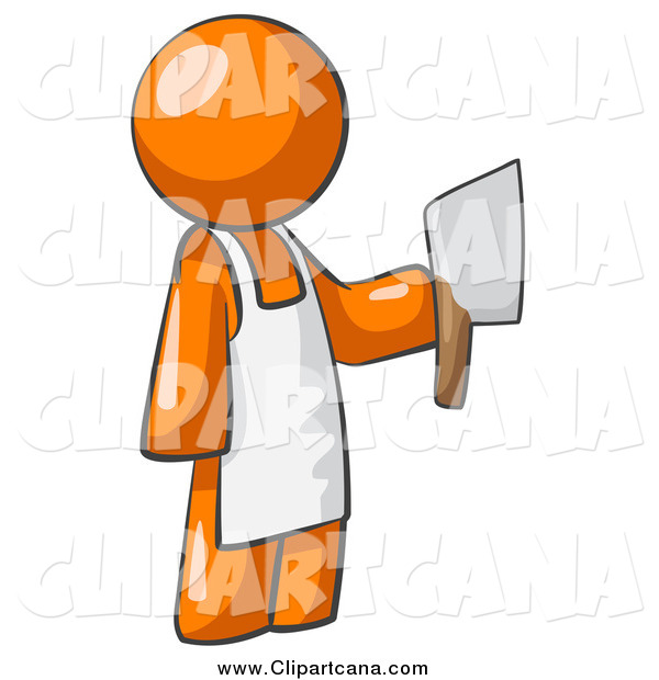 Clip Art of a Butcher Orange Man Holding a Meat Cleaver Knife