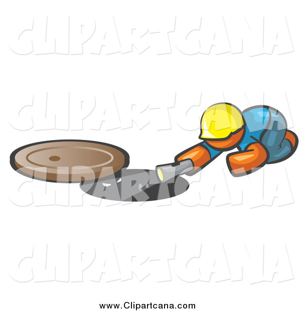 Clip Art of a Construction Orange Man Shining a Flashlight down a Man Hole