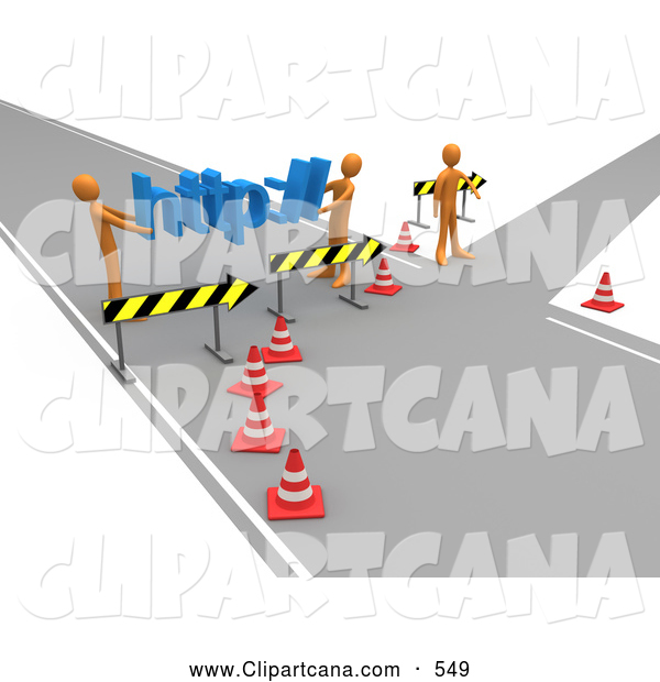 Clip Art of a Construction Zone of Two Orange Men Carrying Http Across a Road Block