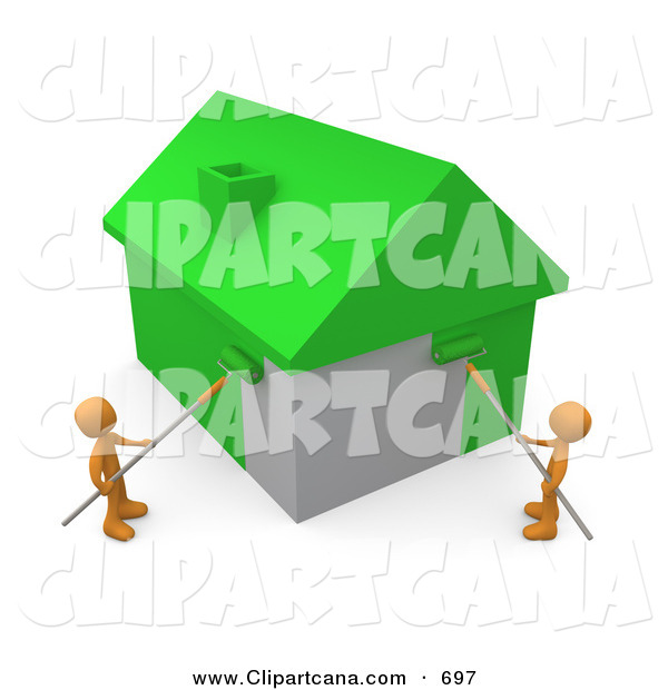 Clip Art of a Couple of Orange People Using Roller Brushes to Paint a Home Green, Symbolizing Upgrading a Home to Be More Energy Efficient