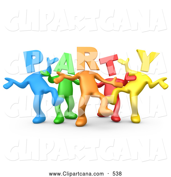 Clip Art of a Diverse Line of Colorful People with Letter Heads Spelling out Party, Dancing