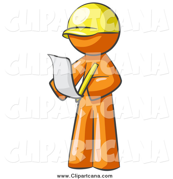 Clip Art of a Draftsman Orange Man Reviewing Plans