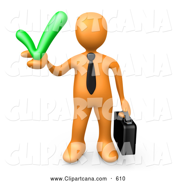 Clip Art of a Friendly Orange Business Man Carrying a Briefcase and Holding a Green Check Mark, Symbolizing Solutions and Approval