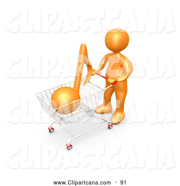 Clip Art of a Friendly Orange Person Pushing a Shopping Cart with an Orange Music Note, Mp3 Music Downloads
