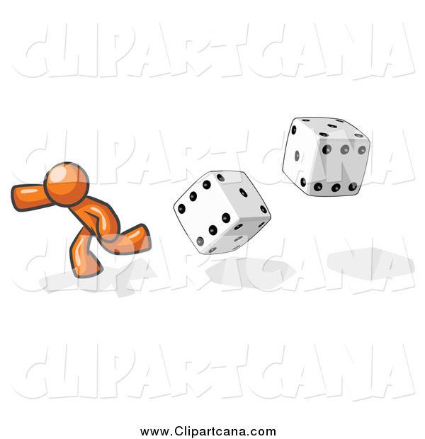 Clip Art of a Gambling Orange Man Running from Dice
