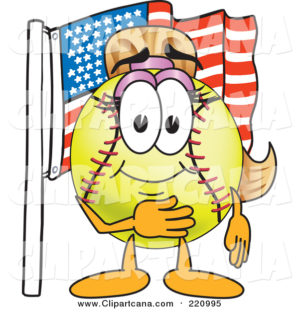 Clip Art of a Girly Softball Character by an American Flag