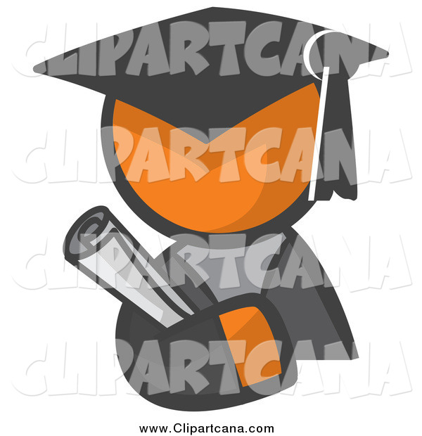 Clip Art of a Graduate Orange Man Avatar Holding a Diploma