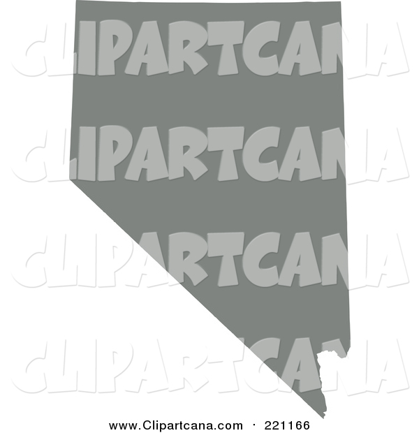 Clip Art of a Gray Silhouette of the State of Nevada, United States