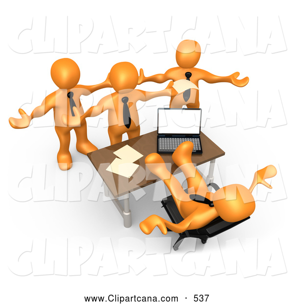 Clip Art of a Group of Angry Orange People Employees Complaining to Their Lazy Worthless Boss As He Sits at His Desk with His Feet up and Does Nothing to Help