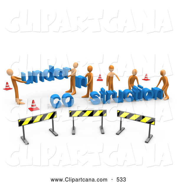 Clip Art of a Group of Construction Zone of Orange Men Carrying Letters Reading Under Construction