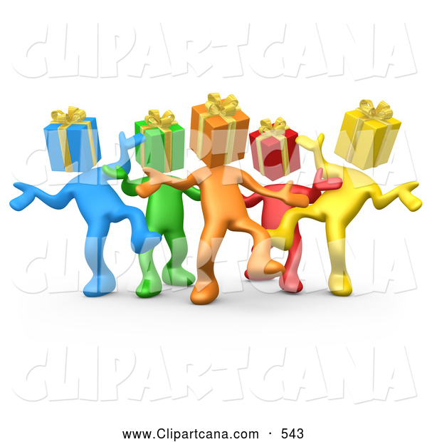 Clip Art of a Group of Diverse and Colorful People with Present Heads, Dancing at a Party on White