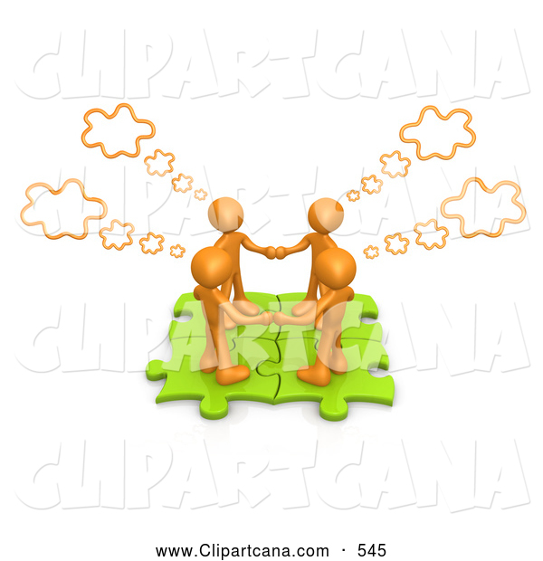 Clip Art of a Group of Four Orange People Holding Hands and Standing on Connected Green Puzzle Pieces, with Thought Clouds Above