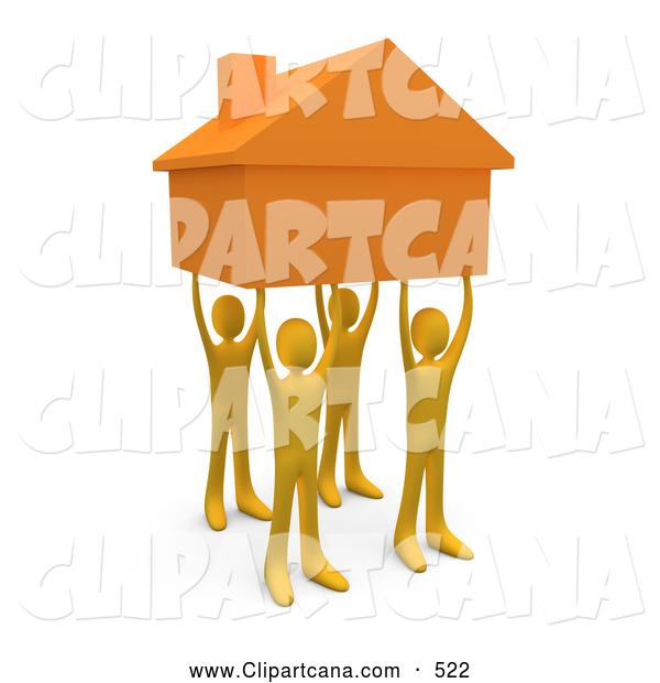 Clip Art of a Group of Four Orange People Holding up a Home, Symbolizing Teamwork, Strong Foundation, Support, and Strong Relationships