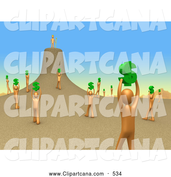 Clip Art of a Group of Scattered Orange People Holding up Dollar Signs and Carrying Them to Their Leader As if They Were Ants