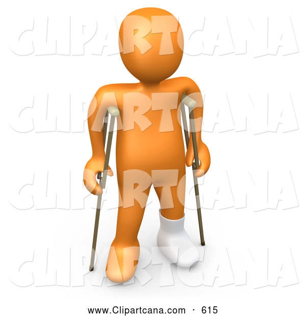 Clip Art of a Handicapped 3D Orange Person with a Cast on His Broken Foot, Using a Pair of Crutches to Get Around
