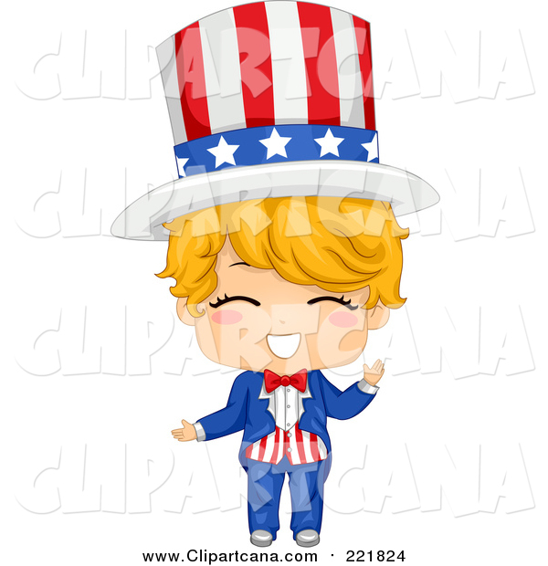 Clip Art of a Happy Blond White American Boy in an Uncle Sam Costume