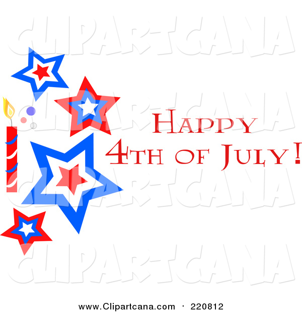 Clip Art of a Happy Fourth of July Star and Firework Greeting