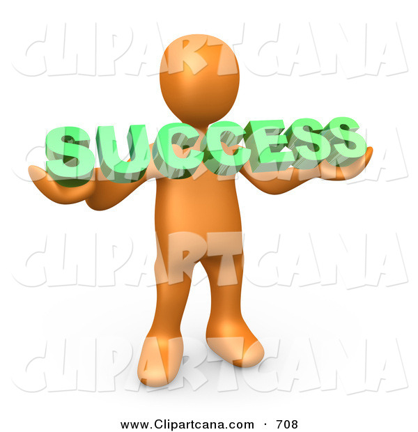 Clip Art of a Happy Orange Person Holding a Green Success Sign