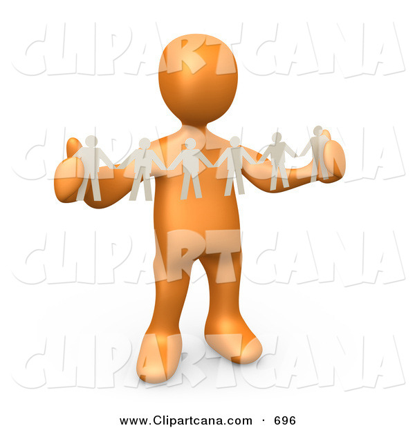 Clip Art of a Happy Orange Person, Such As a Boss or Manager, Holding a Strand of Paper People, Symbolizing Control or Teamwork