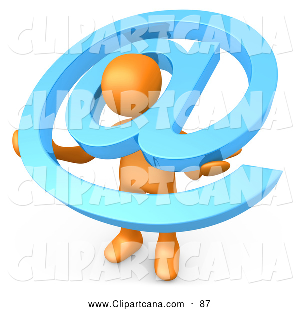 Clip Art of a Helpful Orange Person Carrying a Large Blue at Email Symbol Around His Shoulders
